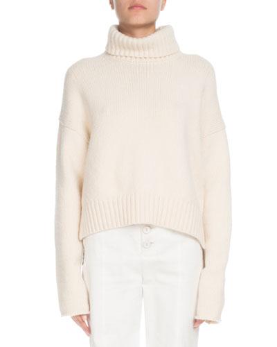 Turtleneck Cropped Cashmere-Blend Sweater