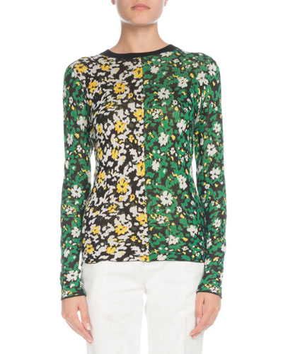 Crewneck Long-Sleeve Floral-Print Silk Jacquard Top