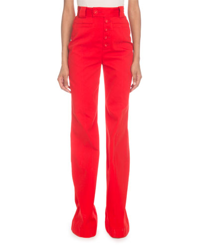 High-Waist Flare-Leg Twill Pants, Red