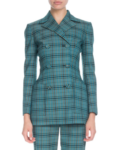 Double-Breasted Plaid Stretch-Wool Blazer