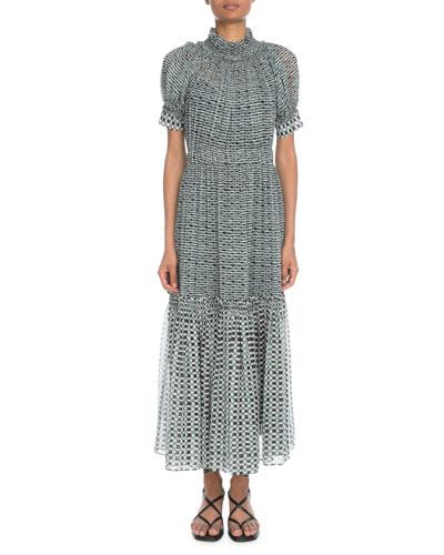 Mock-Neck Short-Sleeve Printed Crepe Chiffon Long Dress