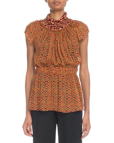 bbeb57894aba5 Mock-Neck Cap-Sleeve Silk Crepe Chiffon Top w  Ruching Quick Look. Proenza  Schouler