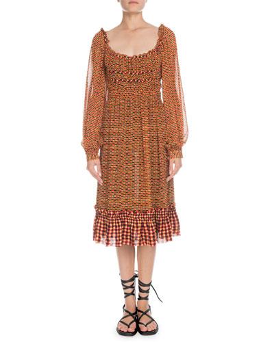 Square-Neck Long-Sleeve Printed Crepe Chiffon A-Line Midi Dress