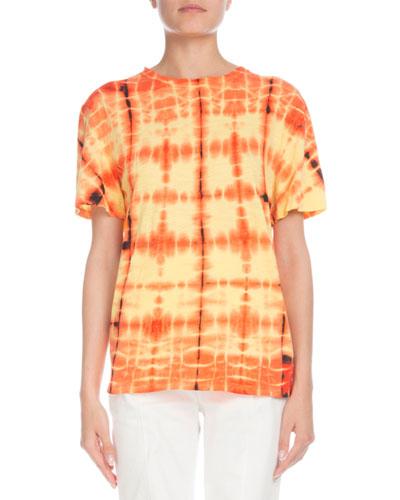 Short-Sleeve Crewneck Tie-Dye Top