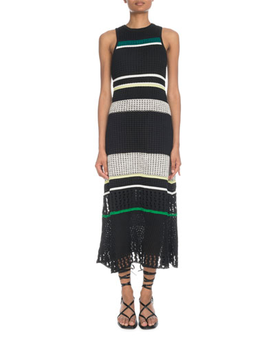Crewneck Sleeveless Striped Open-Stitch Long Dress
