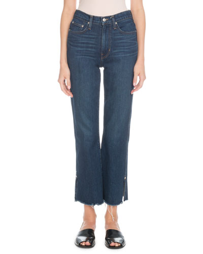 High-Rise Flare-Leg Cropped Jeans with Raw-Hem
