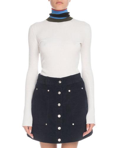 Striped Turtleneck Long-Sleeve Lightweight-Rib Sweater