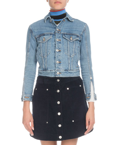Button-Front Cropped Jean Jacket