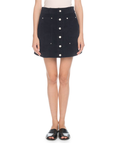 Button-Front Wide-Wale Corduroy A-Line Mini Skirt