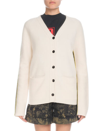 Button-Front Wool-Cashmere Cardigan