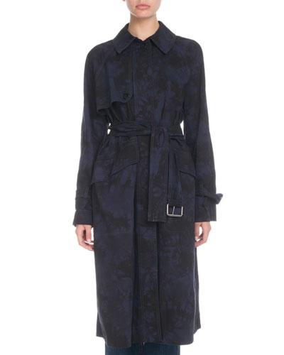 Tie-Dye Utility Cotton Trench Coat