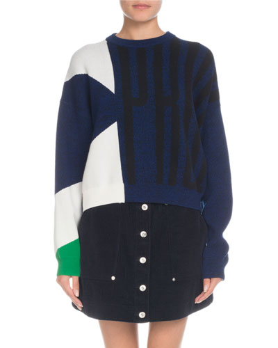 Crewneck Viscose Cotton Jacquard Sweater