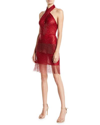 Halter V-Neck Sleeveless Beaded Cocktail Dress w/ Fringe Hem