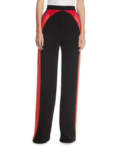 Striped High-Waist Straight-Leg Wool Pants