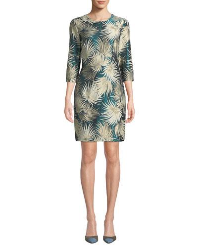 3/4-Sleeve Metallic Palm Jacquard Cocktail Dress