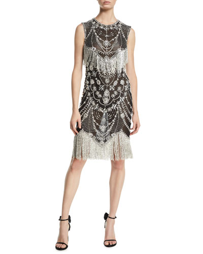 Sleeveless Crystal-Beaded Fringe Sheer Cocktail Dress