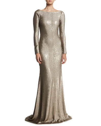 Cowl-Back Boat-Neck Long-Sleeve Fitted Sequin Evening Gown d9bcca5459bda