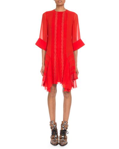Crewneck 3/4-Sleeve Lace-Inset Shift Dress