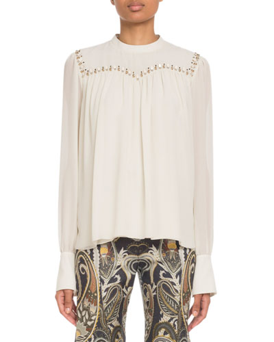 Embroidered Long-Sleeve Silk Top