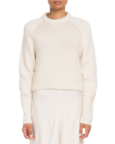 Crewneck Raglan-Sleeve Cable-Knit Wool-Cashmere Pullover