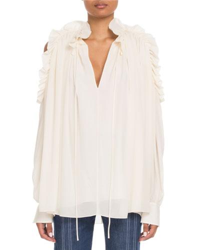Ruffled Open-Shoulder V-Neck Long-Sleeve Silk Blouse