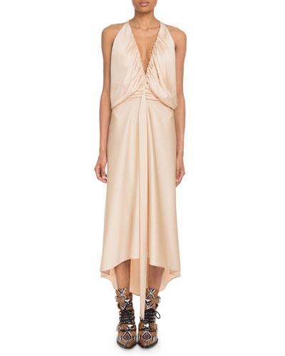 Deep-V Sleeveless Ruched Crepe Back Satin Cocktail Dress