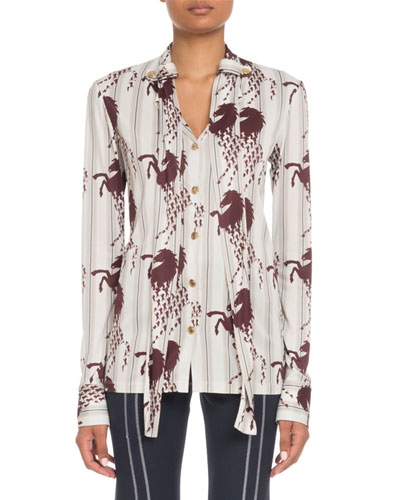 Long-Sleeve Button-Front Horse-Print Viscose Jersey Blouse