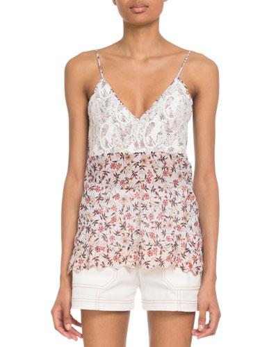 V-Neck Lace-Bodice Cami-Strap Floral-Print Viscose Top