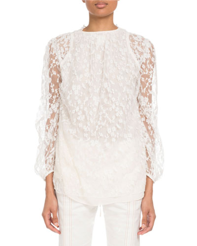 Long-Sleeve Tie-Neck Floral-Lace Blouse