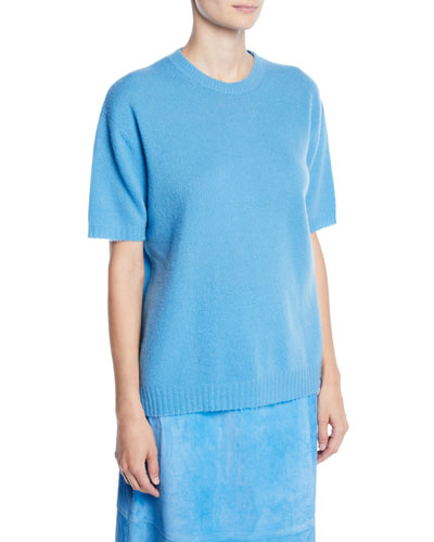 Crewneck Short-Sleeve Cashmere-Silk Tee