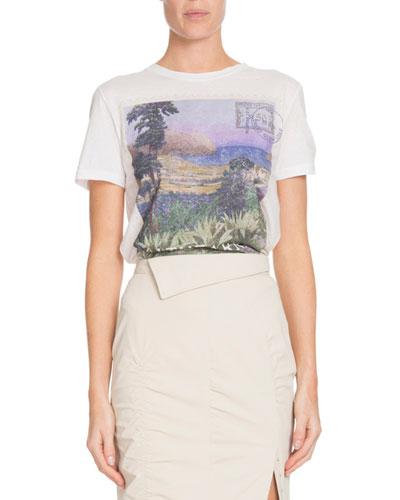 Landscape-Print Crewneck Short-Sleeve Cotton T-Shirt