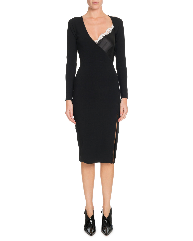 Altuzarra Dresses GIANNI CAMI-INSET V-NECK LONG-SLEEVE BODYCON KNIT DRESS