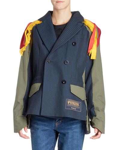 Pinstriped-Front Patchwork-Back Tassel-Shoulder Jacket