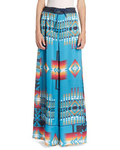 Ikat-Print Wide-Leg Pull-On Pants