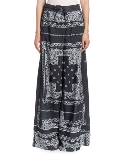 Drawstring Bandana-Print Wide-Leg Pajama Pants