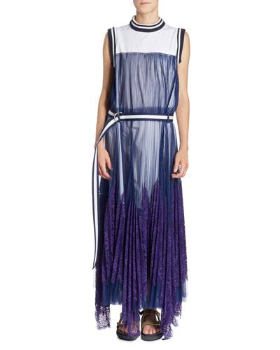 Striped-Border Sleeveless Pleated Tulle Overlay Long Dress