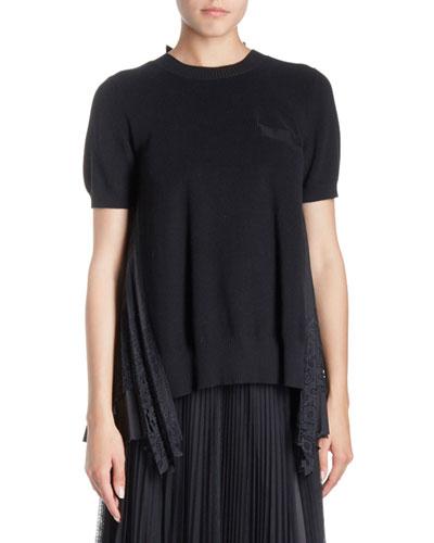 Crewneck Short-Sleeve Lace-Back Knit Top