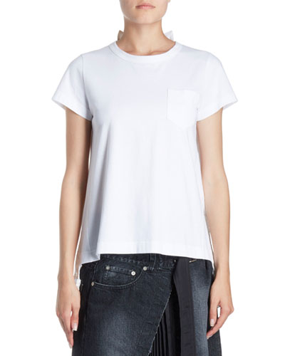 Pleated Lace-Back Crewneck Short-Sleeve Cotton Tee