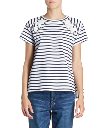 Lace-Up Grommet Striped Crewneck Short-Sleeve Knit Tee