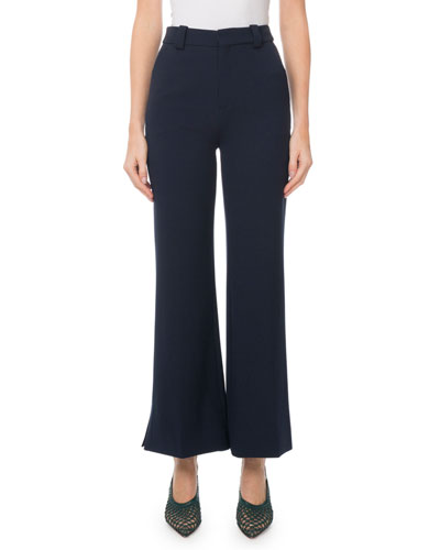 Mid-Rise Cropped Flare-Leg Pants