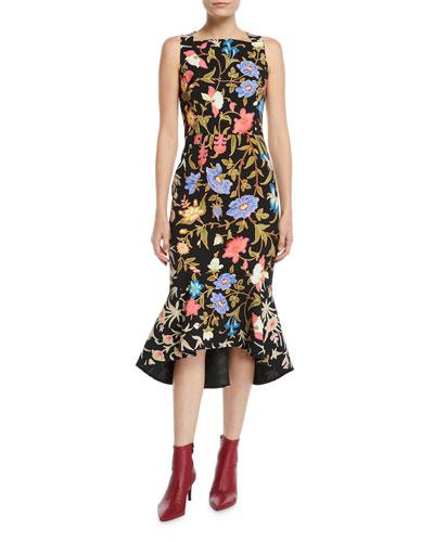 Kia Floral Cady Square-Neck Flounce Midi Dress