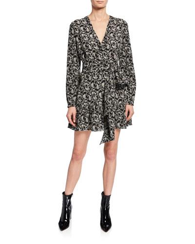 7d70c786fb48 Long-Sleeve Heart-Print Silk Tie-Waist Mini Dress