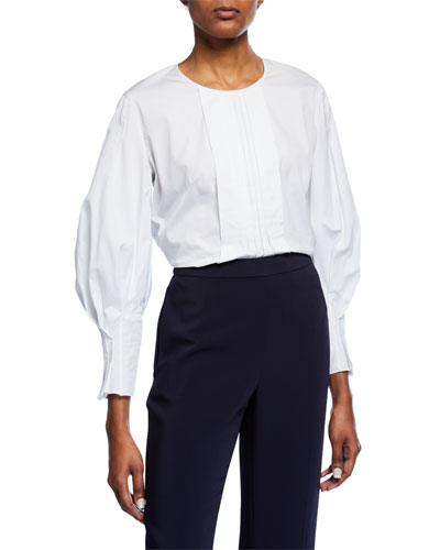 Cotton Pleated-Front Balloon-Sleeve Blouse