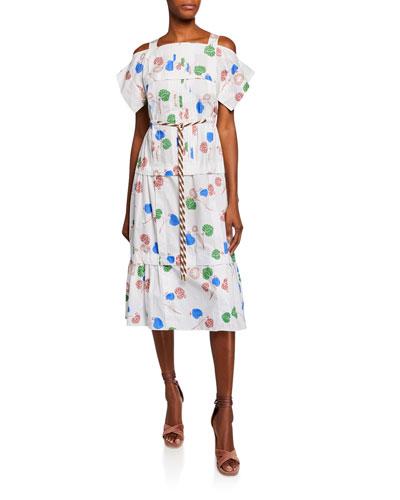 Cold-Shoulder Floral Pleated Cotton Dress