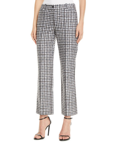 Painterly Stripe Crepe Cady Cropped Trousers