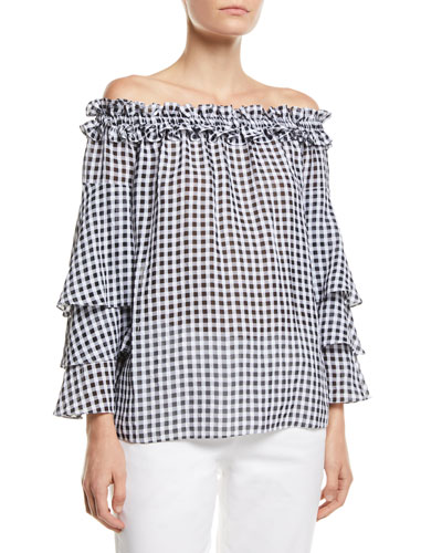 Off-the-Shoulder Tiered-Sleeve Gingham Blouse