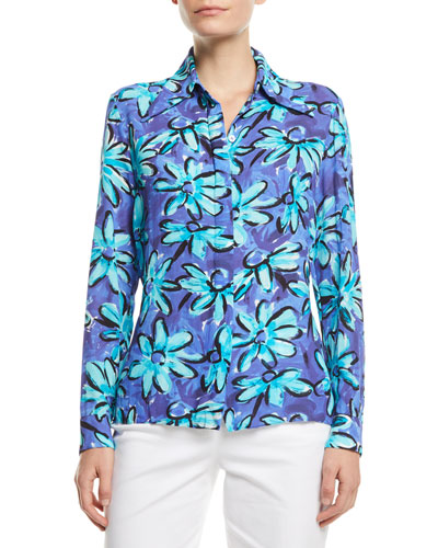 Long-Sleeve Button-Front Daisy Floral-Print Silk Georgette Shirt