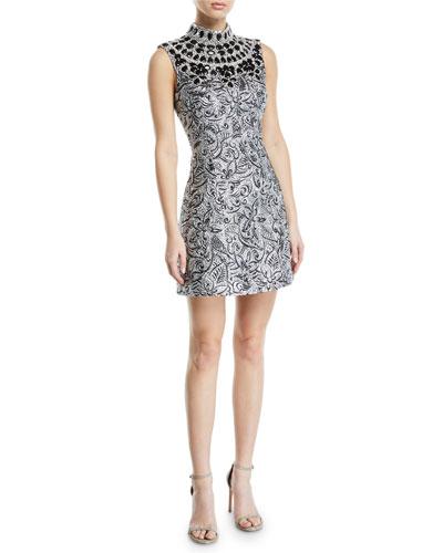 Mock Neck Metallic Brocade Embellished Bib Shift Dress Quick Look Michael Kors