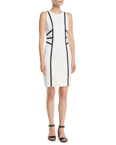 c105a7e611f1 Made in Italy. Sleeveless Stretch-Boucle Crepe Dress w  Leather Trim Quick  Look. Michael Kors Collection