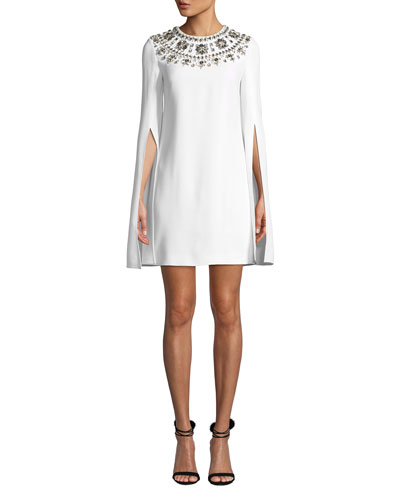 Crystal Puka-Shell Embellished Slit-Sleeve Mini Dress
